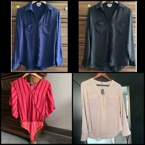 Express Portofino Shirt x4 Leather Bodysuit & Zip